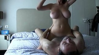 sexy blonde with huge boobs rides dick