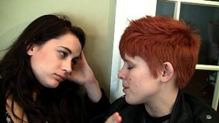 Short hair hot lesbian college girl Kate fucks her roommate with a strap on
